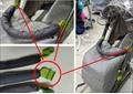 Бампер для санок-колясок серый с зеленым креплением